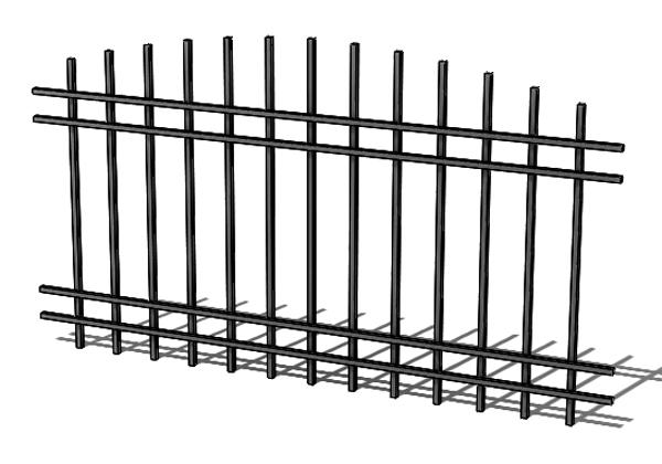 Provedení hliníkového plotu T5